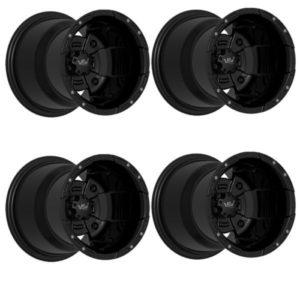 1 Satz VBW Sport Alu-Felgen schwarz/schwarz (MATT) 8x10 4x156 + 10x10 4x115 mit Teilegutachten f. Yamaha