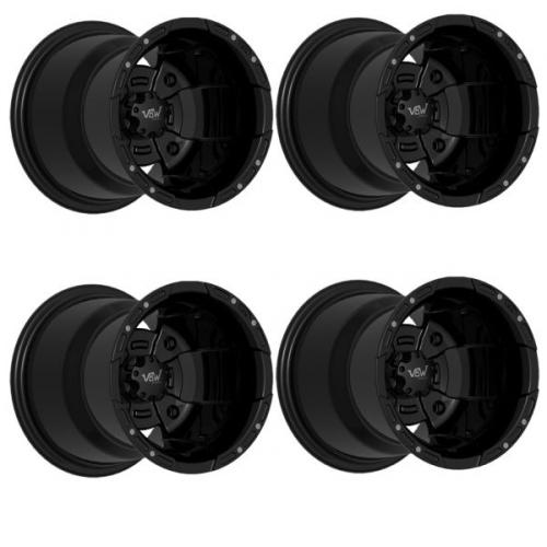 1 Satz VBW Sport Alu-Felgen schwarz/schwarz (MATT) 8×10 4×156 + 10×10 4×115 mit Teilegutachten f. Yamaha von VBW bei Road Monkeys
